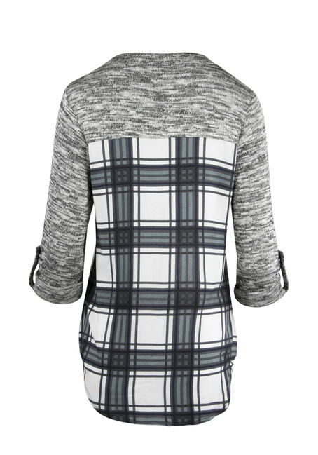 Ladies' Plaid Roll Sleeve Shirt, MINT, hi-res