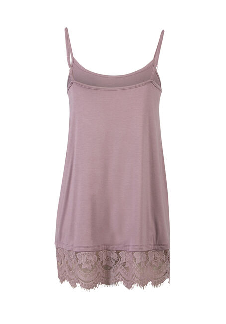 Ladies' Lace Trim Tunic Tank, THISTLE, hi-res