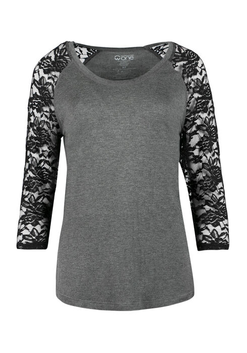 Ladies' Lace Baseball Tee, CHARCOAL/BLACK, hi-res