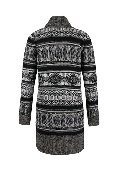 Ladies' Nordic Open Cardigan, BLK/WHT, hi-res