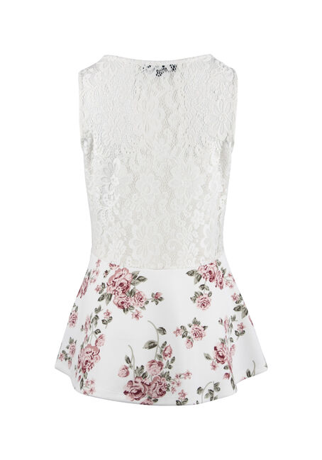 Ladies' Floral Peplum Top, IVORY, hi-res