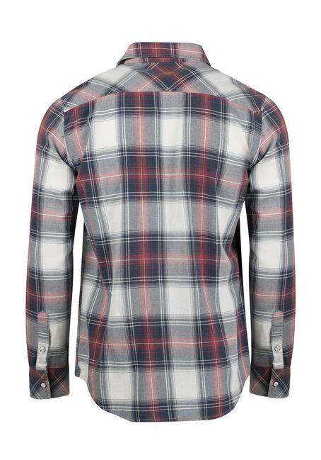 Men's Relaxed Plaid Shirt, BURGUNDY, hi-res