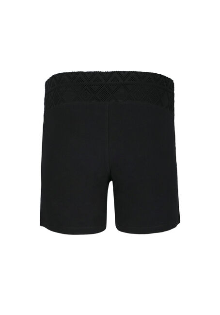 Ladies' Mesh Trim Yoga Shortie, BLACK, hi-res