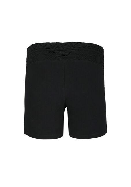Ladies' Mesh Trim Yoga Shortie, BLACK, hi-res