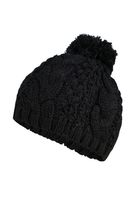Ladies' Pom Pom Beret, BLACK, hi-res