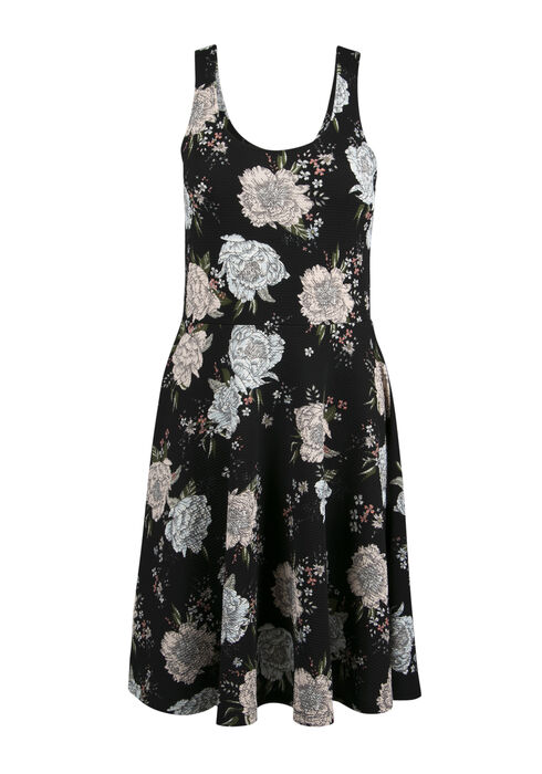 Ladies' Floral Fit & Flare Dress, BLACK PRINT, hi-res