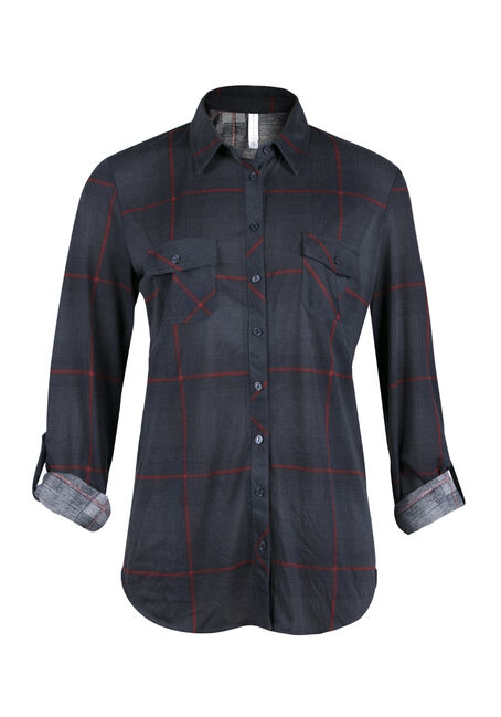 Ladies' Relaxed Fit Knit Plaid Shirt, MOONLIGHT, hi-res
