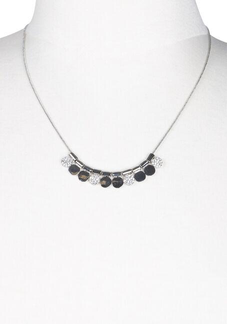 Ladies' Short Mini Discs Necklace, SILVER, hi-res