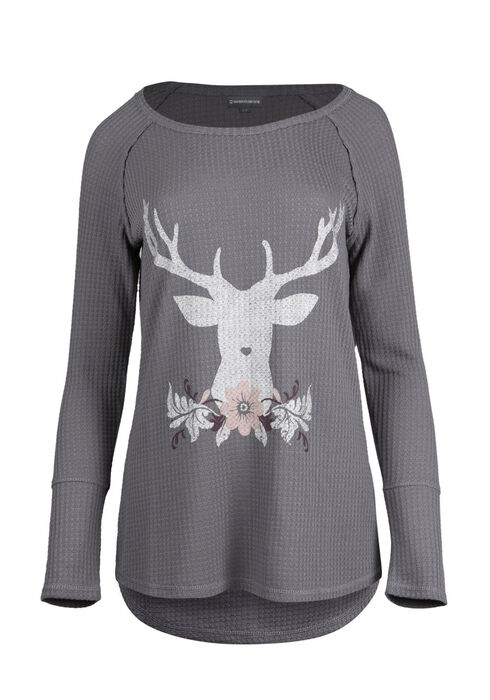 Ladies' Reindeer Top, GREY, hi-res