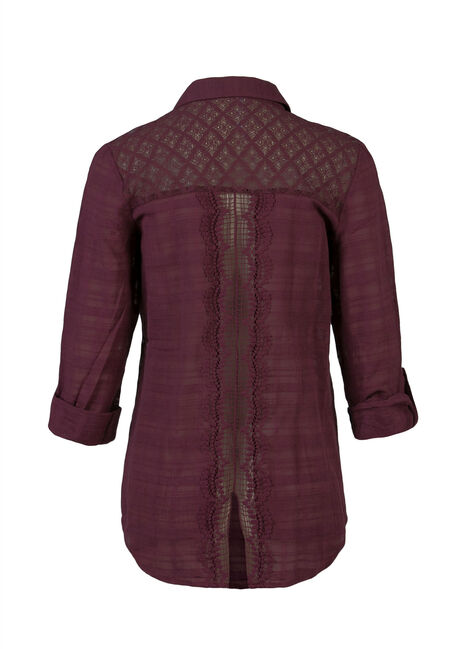 Ladies' Plaid Shirt, MULBERRY, hi-res
