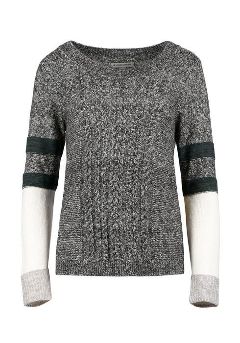 Ladies' Colour Block Cable Knit Sweater, MULTI, hi-res