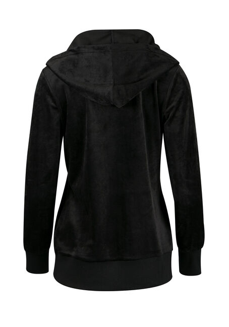 Ladies' Velour Zip Up, BLACK, hi-res