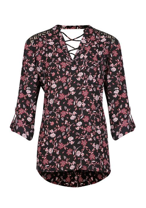 Ladies' Floral Roll Sleeve Top, BLACK, hi-res