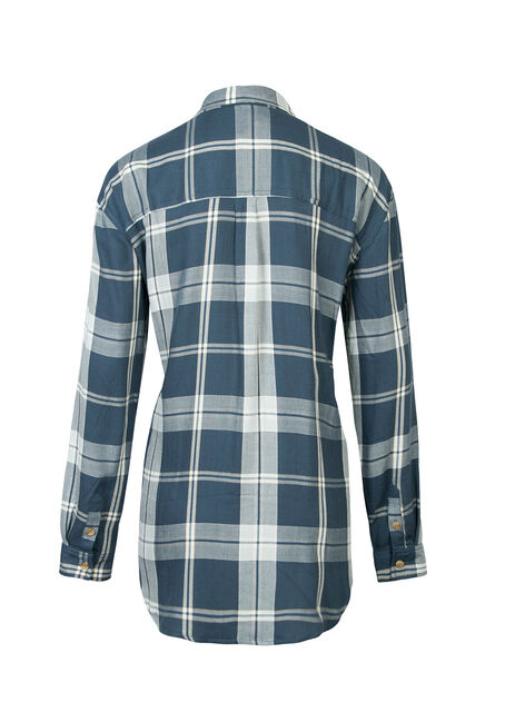 Ladies' Boyfriend Fit Plaid Shirt, COASTAL BLUE, hi-res