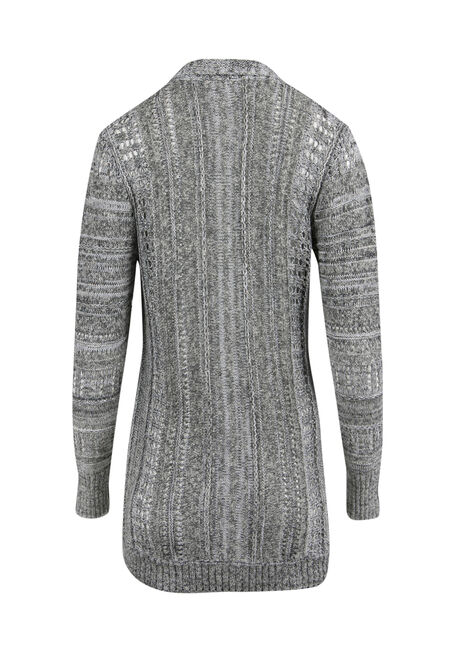 Ladies' Pointelle Cardigan, GREY, hi-res