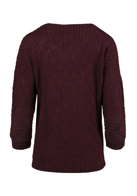 Ladies' Shimmer Sweater, WINE, hi-res
