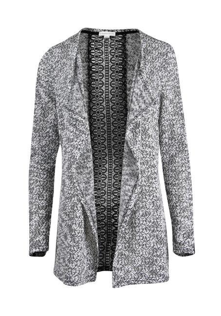 Ladies' Textured Crochet Open Cardigan