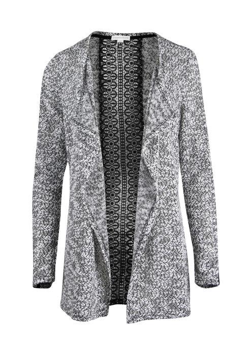 Ladies' Textured Crochet Open Cardigan, BLK/IVORY, hi-res