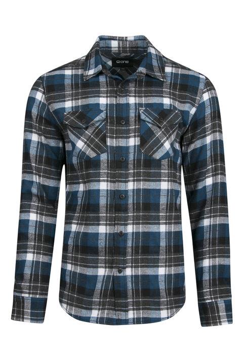 Men's Flannel Shirt, TEAL, hi-res
