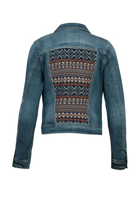 Ladies' Jacquard Insert Jean Jacket, DENIM, hi-res