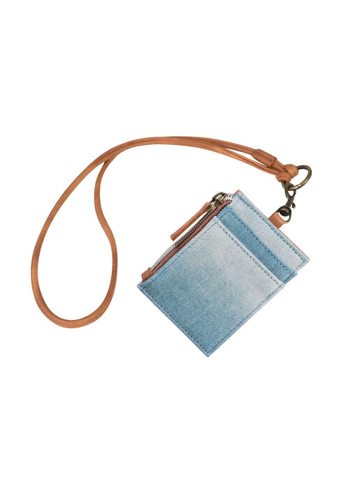 Ladies' Denim Wallet ID Case, MEDIUM BLUE, hi-res