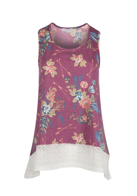 Ladies' Floral Crochet Trim Tank