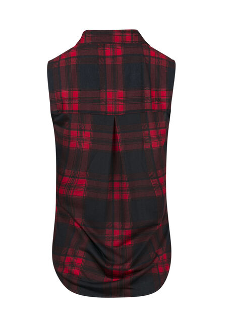 Ladies' Relaxed Fit Knit Plaid Shirt, RED/NAVY, hi-res