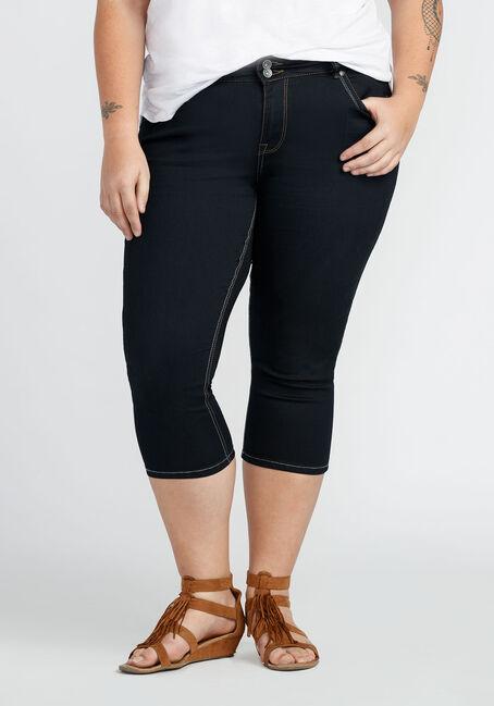 Ladies' Plus Size Skinny Capri, RINSE WASH, hi-res