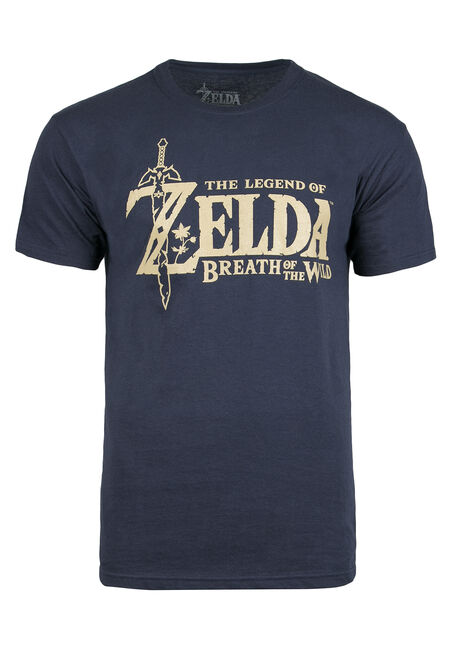 Men's Zelda Logo Tee, NAVY, hi-res