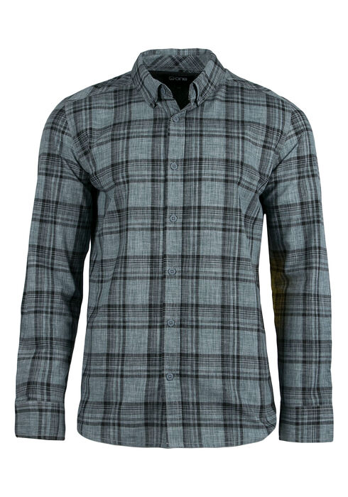 Men's Relaxed Plaid Shirt, Blue, hi-res