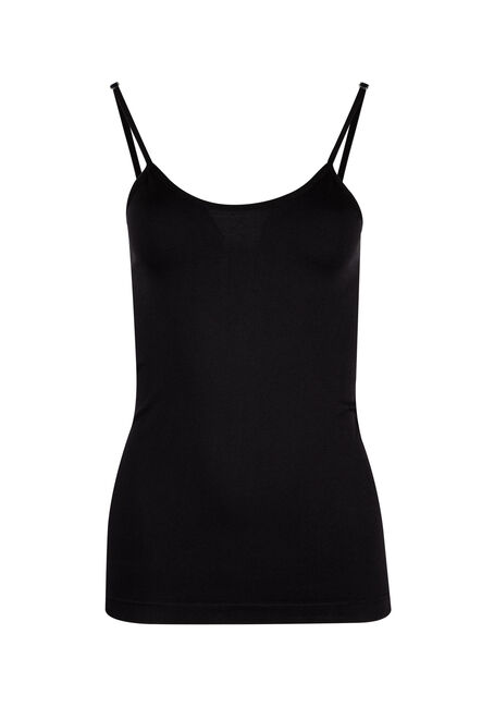 Ladies' Seamless Strappy Tank, BLACK, hi-res