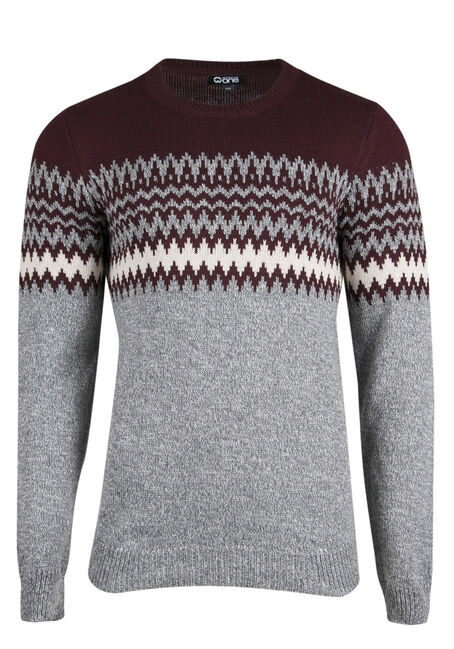 Men's Nordic Crew Neck Sweater, BURGUNDY, hi-res