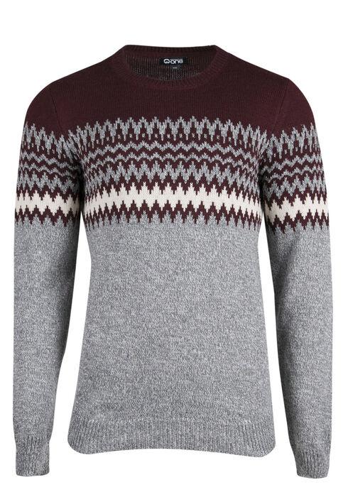 Men's Nordic Crew Neck Sweater, BURGUNDY, hi-res