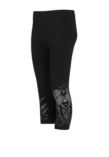 Ladies' Cut Out Capri Legging, BLACK, hi-res