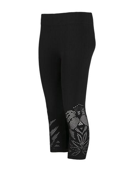 Ladies' Cut Out Capri Legging, BLACK, hi-res
