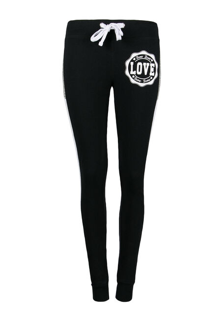 Ladies' Colour Block Jogger, BLACK, hi-res