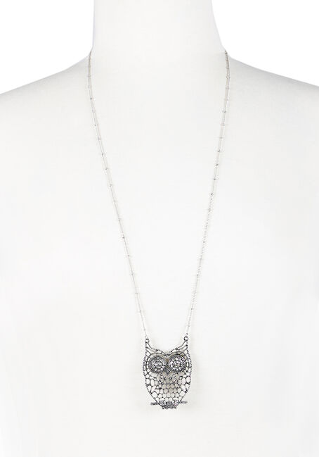 Ladies' Fancy Owl Necklace, RHODIUM, hi-res