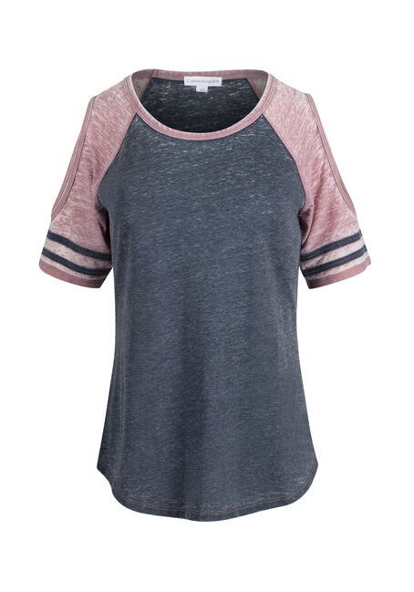 Ladies' Cold Shoulder Football Tee