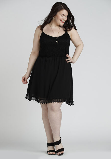 Ladies' Crochet Trim Strappy Dress, BLACK, hi-res