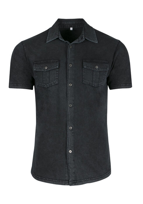 Men's Acid Wash Knit Shirt, CHARCOAL, hi-res
