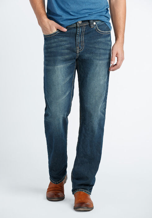 Men's Relaxed Straight Dark Wash Jeans, DARK VINTAGE WASH, hi-res