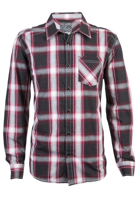 Men's Long Sleeve Plaid Shirt, RED, hi-res
