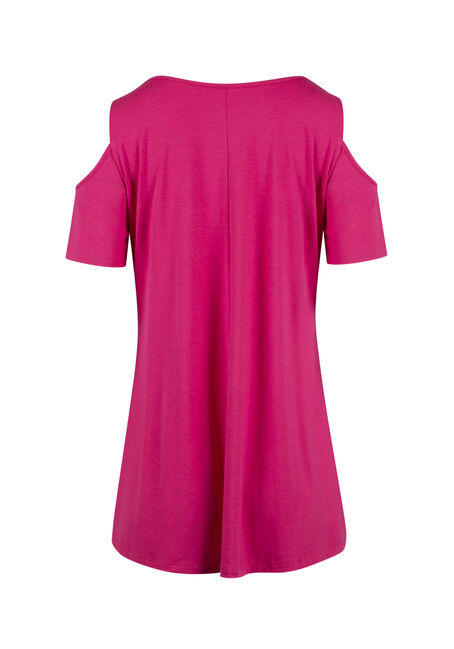 Ladies' Cold Shoulder Tee, RASPBERRY, hi-res
