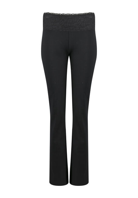 Ladies' Lace Waistband Yoga Pant, BLACK, hi-res
