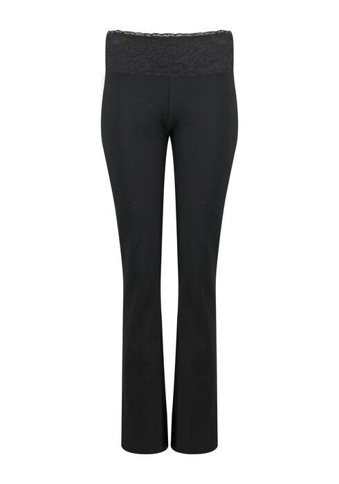 Ladies' Lace Waistband Yoga Pant, BLACK, hi-res
