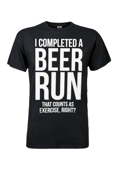 Men's Beer Runs Tee, BLACK, hi-res