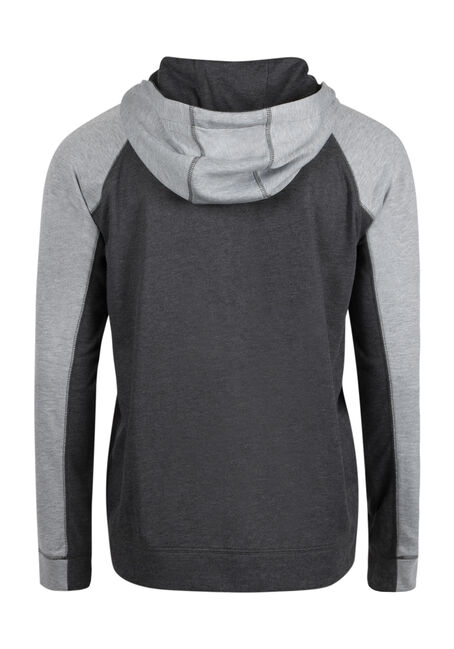 Men's Colour Block Hoodie, CHARCOAL, hi-res