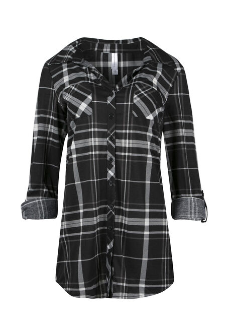 Ladies' Knit Plaid Tunic Shirt, BLACK, hi-res