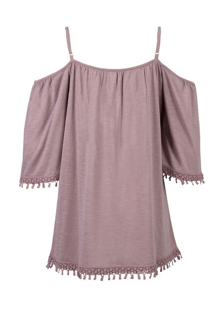 Ladies' Cold Shoulder Top, THISTLE, hi-res