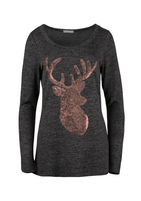 Ladies' Sequin Reindeer Tunic Top, BLACK, hi-res